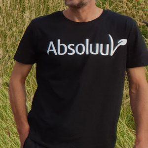 Duurzaam biologisch t-shirt man wit Absoluut vegan veganist vegetarier De Duurzame Kaart