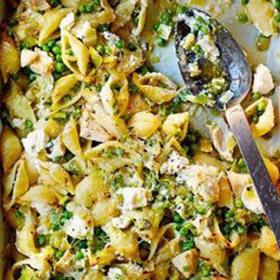 Prei erwten marscapone pasta uit de oven oven Vegetarisch Weekmenu