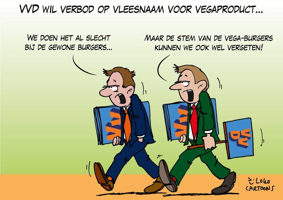 Schnitzelgate volgens Loko Cartoons over de VVD vega-schnitzel discussie op Vegetarisch Weekmenu