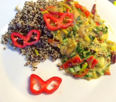 Groene Curry met rijst en groenten. Vegan recept op Vegetarisch weekmenu