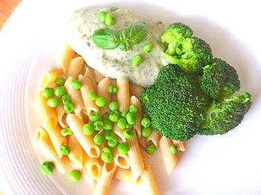 Pasta pesto met broccoli. Veganistisch gerecht op Vegetarisch Weekmenu