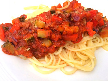 Happy spaghetti is een makkelijk recept op Vegetarisch Weekmenu
