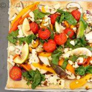 Flammkuchen recept met groenten als aubergine en feta op Vegetarisch Weekmenu