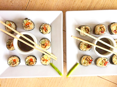 Sushi rollen maken vega en vegan op Vegetarisch-Weekmenu