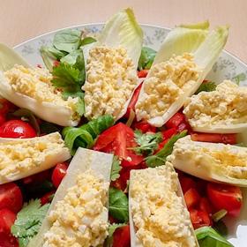 Witlof schuitjes met salade van waterkers, paprika en tomaatjes op Vegetarisch Weekmenu