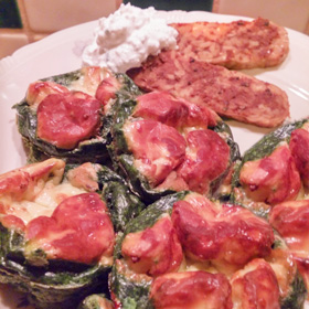 Wilde spinazie cupje met ei en kaas op Vegetarisch Weekmenu
