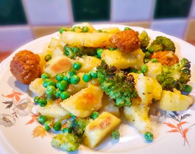 Gebakken aardappelen doperwten recept op Vegetarisch Weekmenu