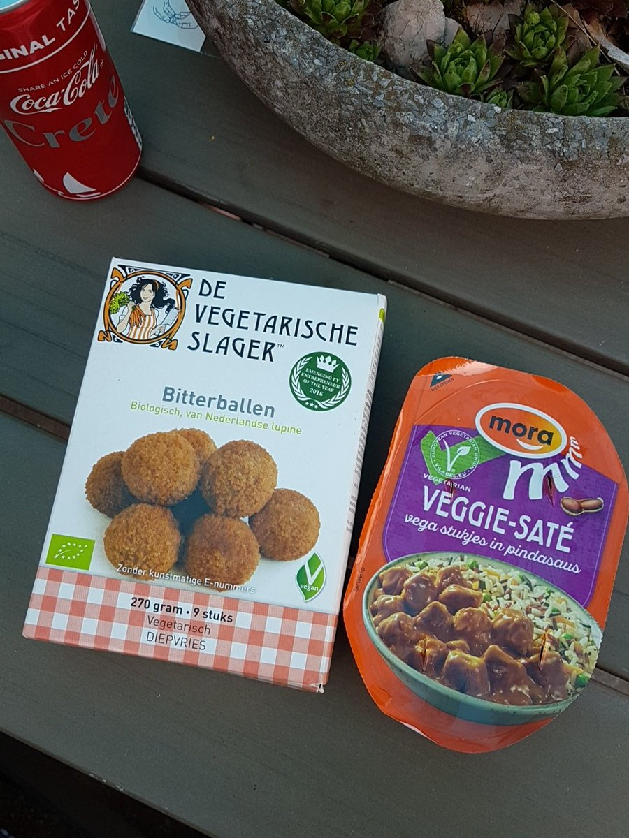 Vega bitterballen van de vegetarische slager en veggiw saté van Mora. Bijdrage van Brigitte @Brietjuh