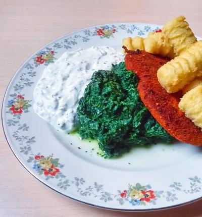 Vivera Zigeunerschnitzel tzatzikisaus recept met spinazie op Vegetarisch Weekmenu