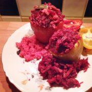 Gevulde paprika's met bietjes rode bieten gerecht Vegetarisch Weekmenu