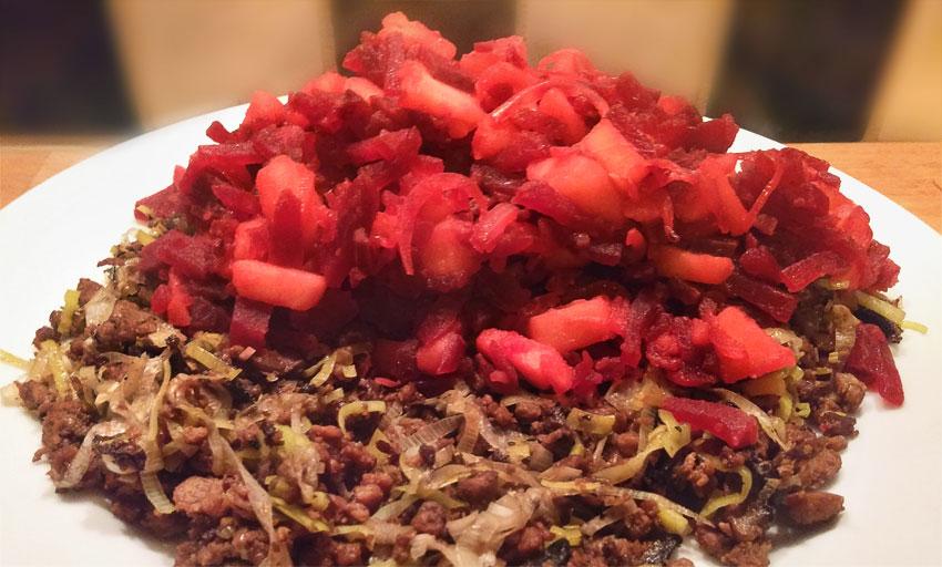 Rode bieten op prei gehakt recept hoofdgerecht Vegetarisch Weekmenu