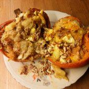 Gevulde pompoen met ei aardappelen oven recept edelgist Vegetarisch Weekmenu