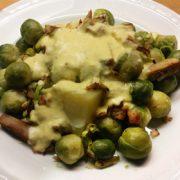 Romige spruitjes en aardappel makkelijk wokstukjes Lidl recept Vegetarisch Weekmenu