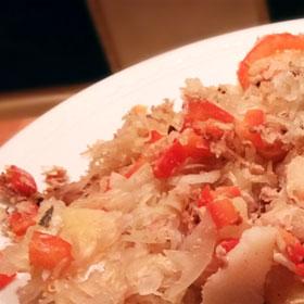 Zuurkool paprika uit de oven recept hoofdmaaltijd Vegetarisch Weekmenu