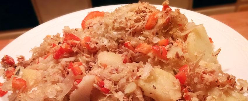 Zuurkool paprika uit de ovenrecept recept vegan hoofdgerecht