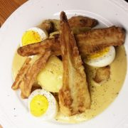 Gefrituurde pastinaak recept hoofdgerecht mosterdsaus eier gerecht Vegetarisch Weekmenu