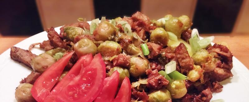 Spruitjes met gemarineerde wok-reepjes kerstmenu hoofdgerecht -lidl lenteuitjes Vegetarisch Weekmenu