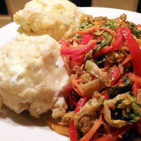 Gemengde groenten roerbakken makkelijk recept ei aardappelpuree Vegetarisch Weekmenu