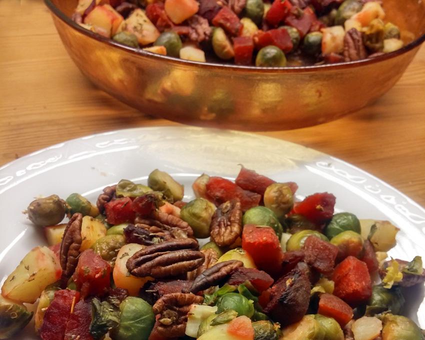 Geroosterde bieten spruiten recept pecannoten oven Vegetarisch Weekmenu