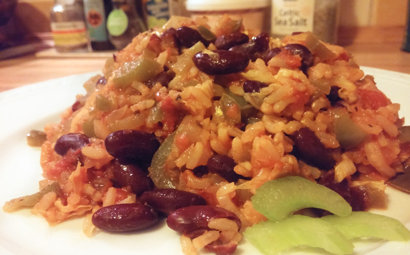 Groente rijst stoofpot vegan jambalaya recept Vegetarisch Weekemenu