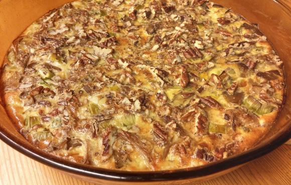 Paddenstoelen pecan ovenschotel recept oesterzwammen hartige taart Vegetarisch Weekmenu