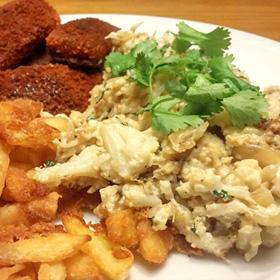 Patat bloemkool in koriander saus recept vegan vissticks Vegetarisch Weekmenu
