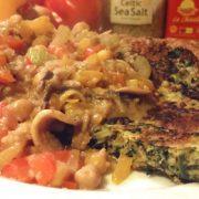 Spinazie pannenkoek met groentebeleg makkelijk hoofdgerecht hartig gezond Vegetarisch Weekmenu