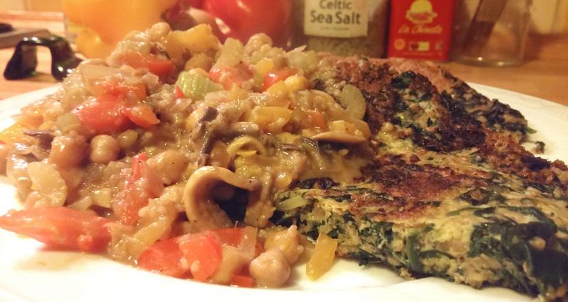 Spinazie pannenkoek met groentebeleg recept hartig gezond Vegetarisch Weekmenu