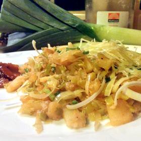 Gebakken prei gebakken aardappelen viskruiden zelf maken Vegetarisch Weekmenu