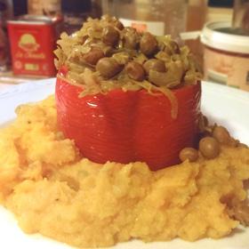 Prei en velderwtjes gevulde paprika vergeten groente knolselderij pompoenpuree Vegetarisch Weekmenu