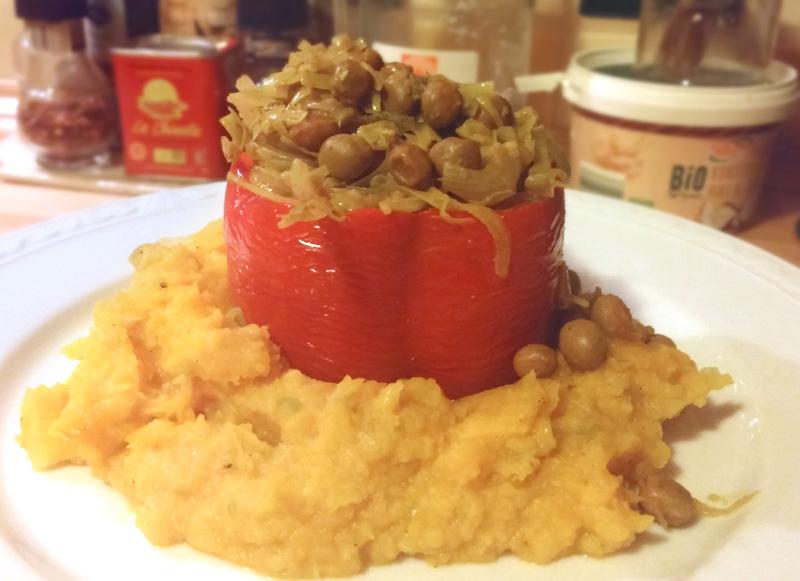 Prei en velderwtjes gevulde paprika knolselderij puree pompoen Vegetarisch Weekmenu