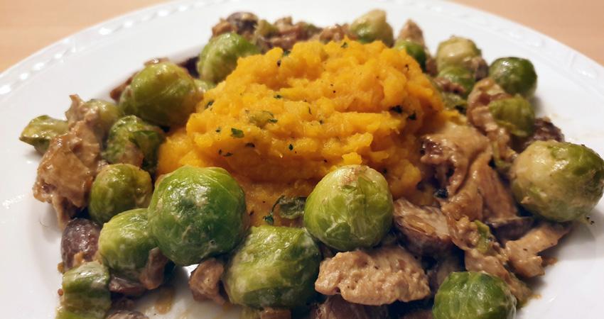 Spruitjes romige saus pompoenpuree recept wokstukjes Lidl Vegetarisch Weekmenu