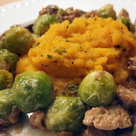 Spruitjes romige saus puree pompoen recept stomen plantaardig Vegetarisch Weekmenu