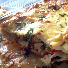Vegetarische lasagna lasagne gerecht Binnenste Buiten Karin Vegetarisch Weekmenu