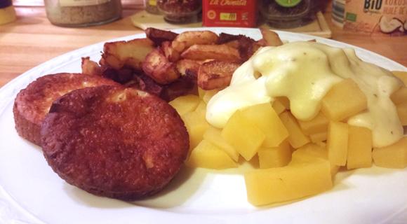Koolraap met saus, gebakken aardappelen en rookkaas Vegetarisch Weekmenu
