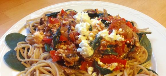 Spaghetti spinazie recept paprika volkoren Vegetarisch Weekmenu