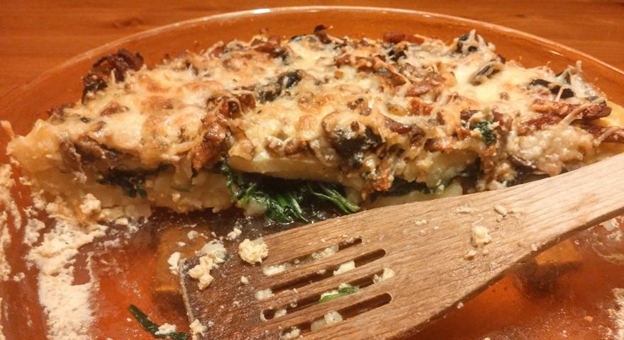 Aardappel spinazie gratin recept oven gerecht Vegetarisch Weekmenu