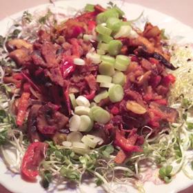 Gezonde zaterdag hap champignons spruit groenten recept Vegetarisch Weekmenu