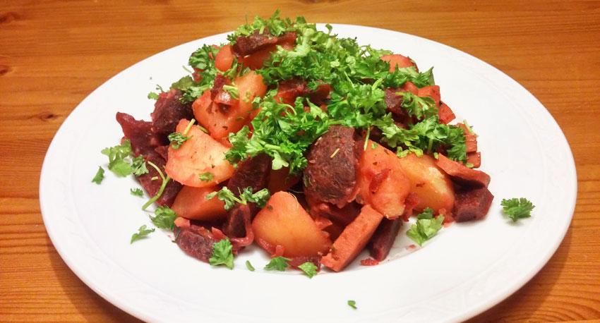 Warme bietensalade recept lente vegetarisch weekmenu