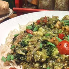 Spaghetti met broccoli saus recept hoofdgerecht tofu Vegetarisch Weekmenu