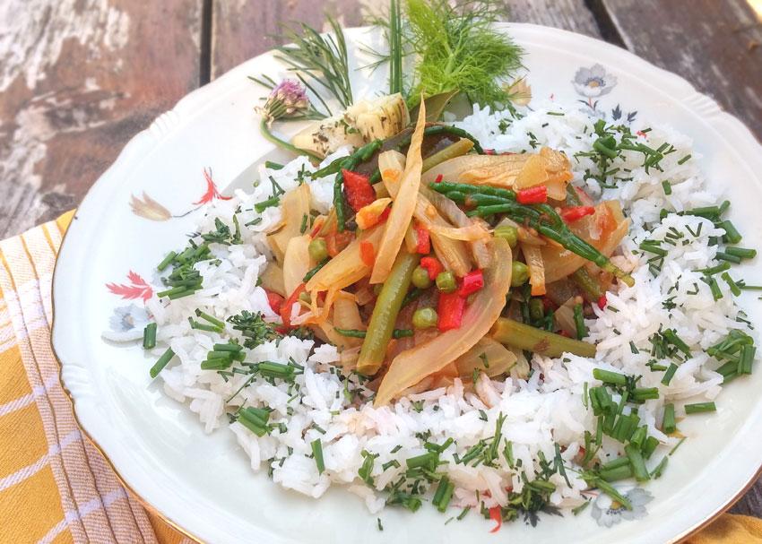 Zeekraal groentemix verse kruiden rijst recept Vegetarisch Weekmenu