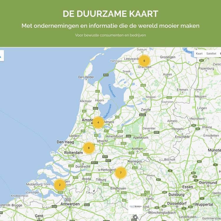 De Duurzame Kaart contact ondernemingen informatie duurzaam duurzaamheid wereld mooier maken