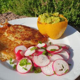 Gevulde paprika recept aardappelpannenkoekjes radijssalade wewv koken vegan Vegetarisch Weekmenu
