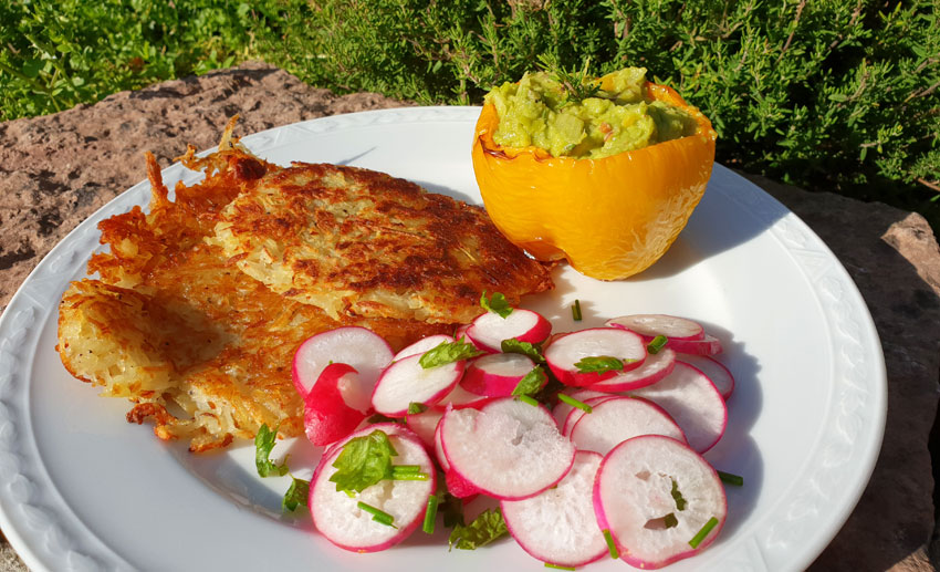 Gevulde paprika recept rosti radijs salade Vegetarisch Weekmenu