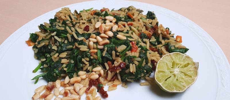 Gekruide rijst met spinazie en pijnboompitten recept Vegetarisch-weekmenu