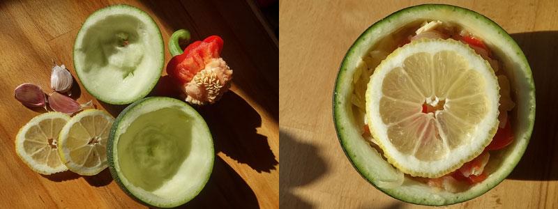 Gevulde bolcourgette biologisch citroen knoflook paprika Vegetarisch Weekmenu