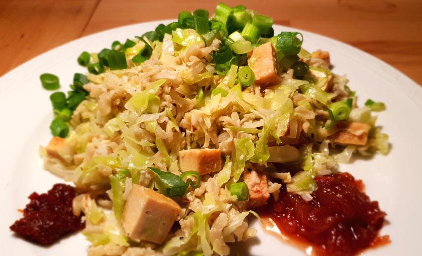 Kikkererwten fusilli spitskool vegan recept Vegetarisch Weekmenu