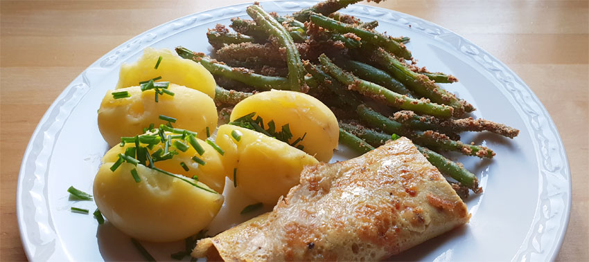 Krokante sperziebonen recept gebakken ei aardappelen Vegetarisch Weekmenu