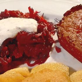 Vegetarisch rode bietjes mascarpone saus makkelijk recept Vivera biefstukc