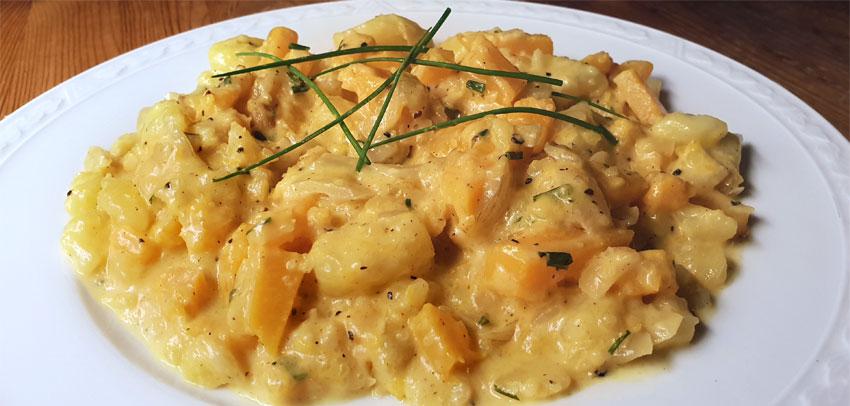 Romige pompoen aardappel stoof recept Vegetarisch Weekmenu